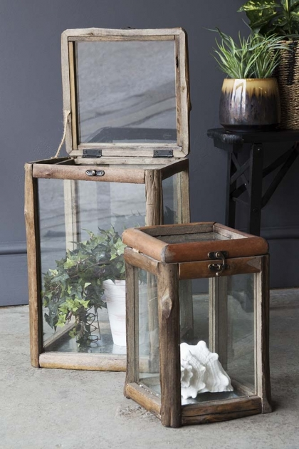 Set Of 2 Rustic Wood & Glass Storage Boxes