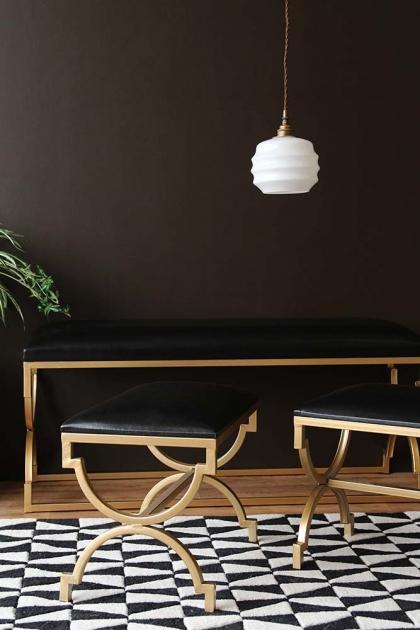 Set Of 3 Black & Gold Art Deco Benches