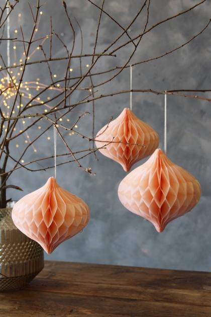 Set Of 3 Blush Pink Hanging Paper Decorations