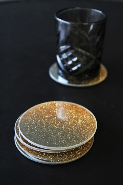 Set Of 4 Gold Glitter Coasters - Small