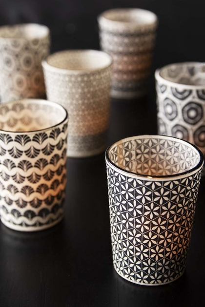 Set Of 6 Patterned Tea Light Holders