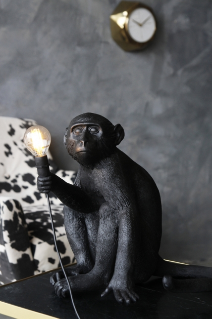 Sitting Monkey Table Lamp - Black