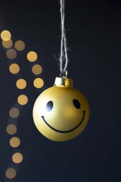 Smiley Face Bauble Hanging Decoration