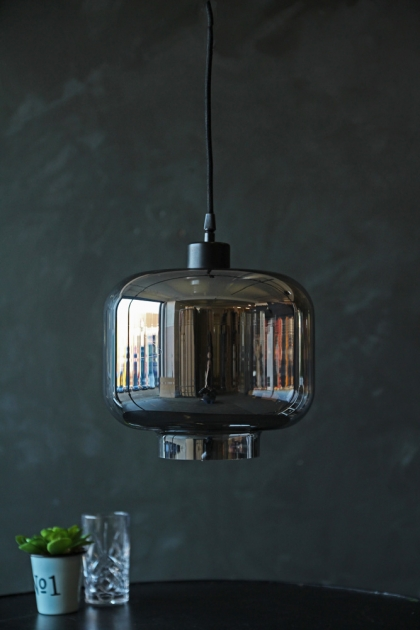 Smoked Glass Pendant Ceiling Light - Urn