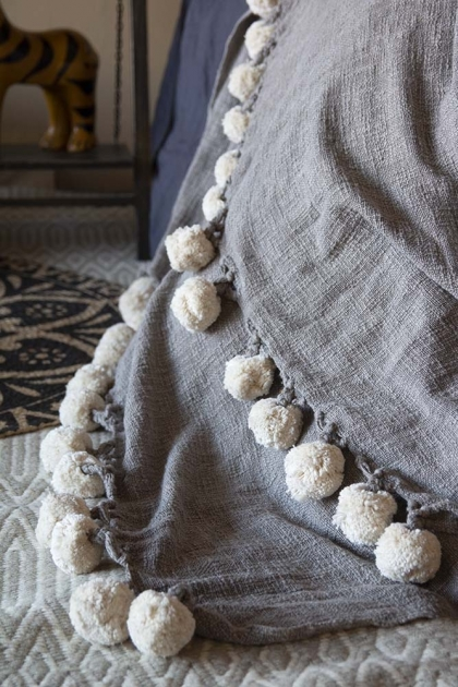 Soft Grey Cotton Throw With Ivory Pom Poms
