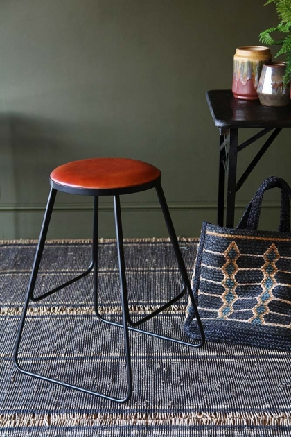 Stackable Bar Stool - Brown With Black Legs
