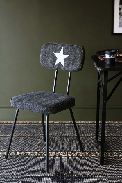 Star Print Canvas Dining Chair - Charcoal Grey