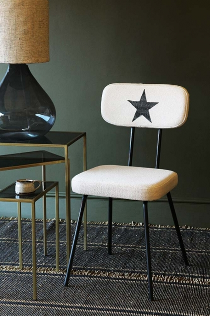 Star Print Canvas Dining Chair - Off White