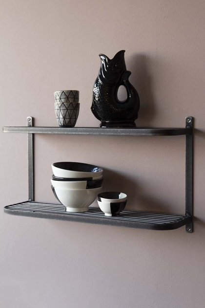 Industrial Style Steel Double Wall Shelf