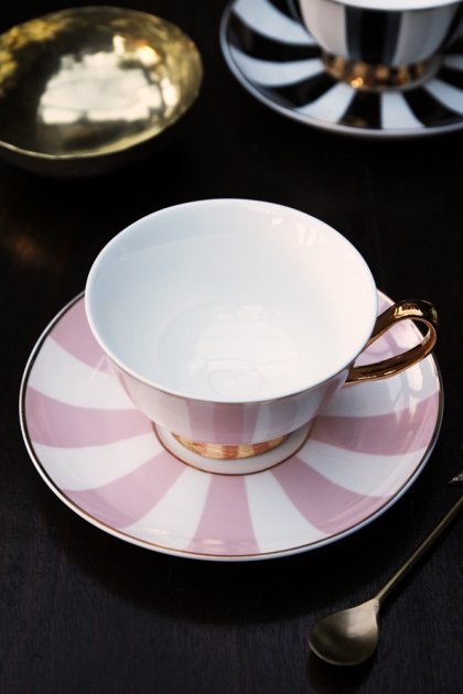 Stripy Teacup and Saucer Pink/White