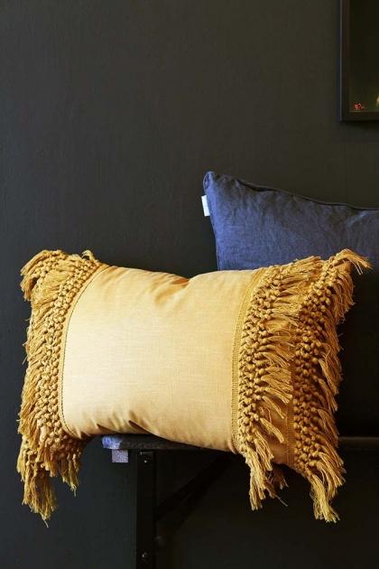 Tassel Cotton Cushion - Mustard
