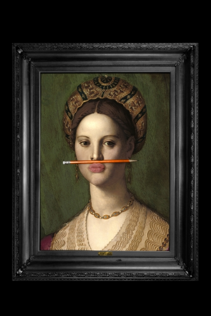 The Orange Pencil Canvas with Printed Frame