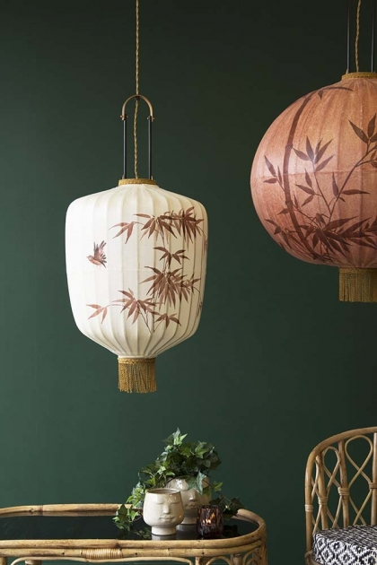 Traditional Japanese Lantern Ceiling Light - Cream Cylinder