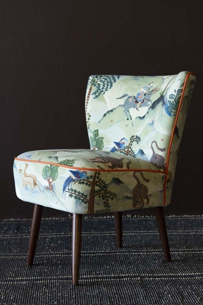 Vintage Style Velvet Cocktail Chair In Fable Aesop
