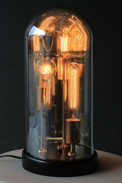 Three Vintage Style Bulb in Dome Table Lamp