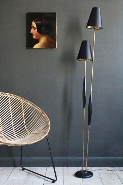 Twin Reed Floor Lamp With Golden Shades