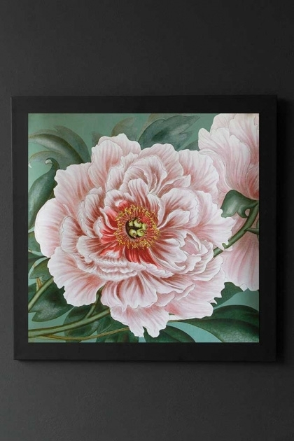Image of Pretty Pink Wild Rose Art Print Poster framed and hanging on the wall