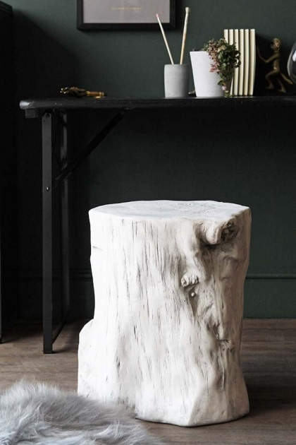 White Tree Trunk Effect Stand  Side Table