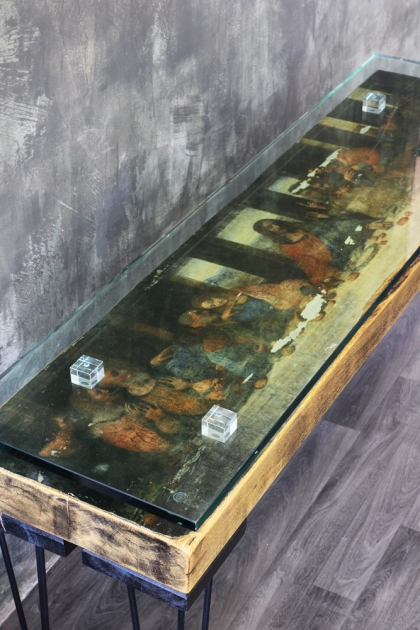 The Last Supper Reclaimed Console Table With Glass Top
