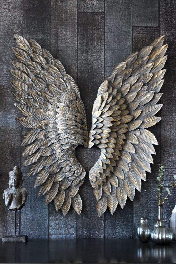 Feather Effect Metallic Wings View All Home Accessories