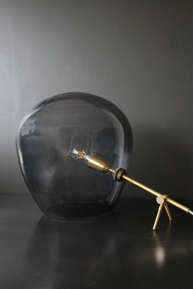Brass smoked glass tripod table lamp aloadofball Choice Image
