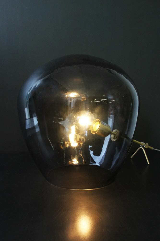 Brass Amp Smoked Glass Tripod Table Lamp View All Lighting