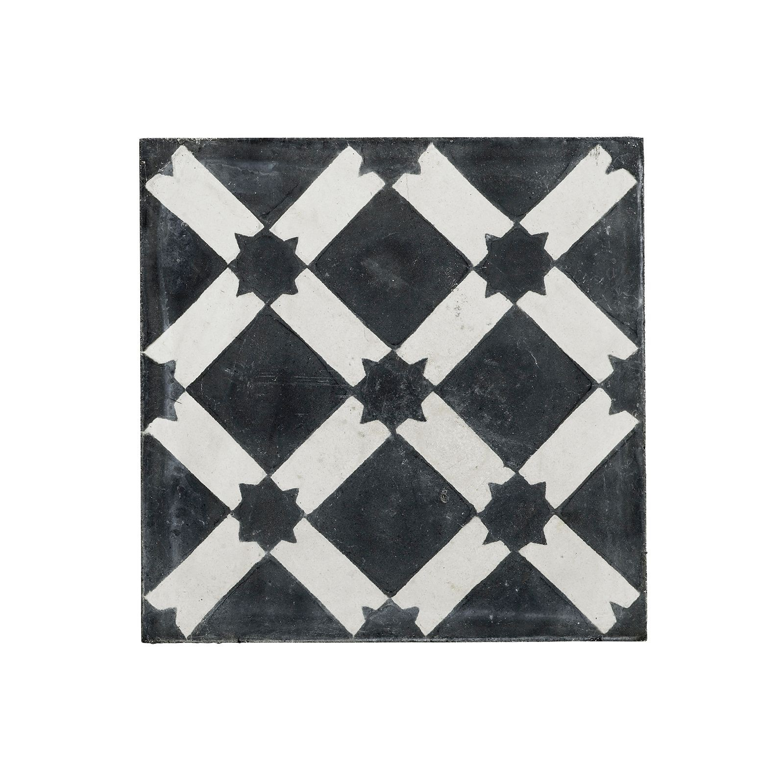 Handmade concrete tile black and white star design for Tiles black and white