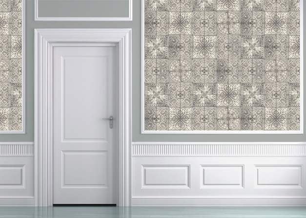 Louise Body Patchwork Tea Tile Wallpaper - Panel