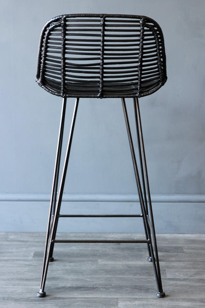Black Rattan Bar Stool All Seating Furniture