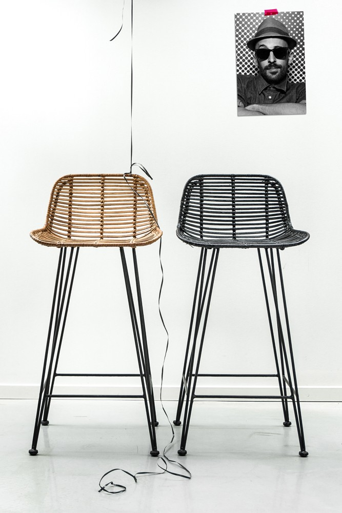 Blonde Rattan Bar Stool