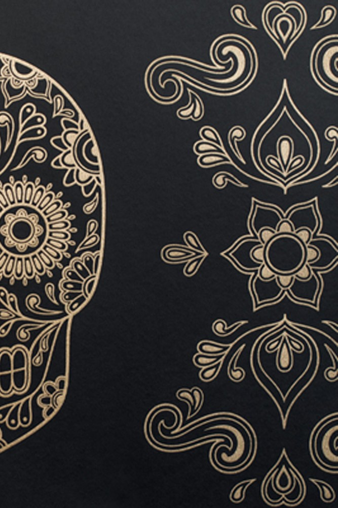 day of the dead skull wallpaper gold black. Black Bedroom Furniture Sets. Home Design Ideas