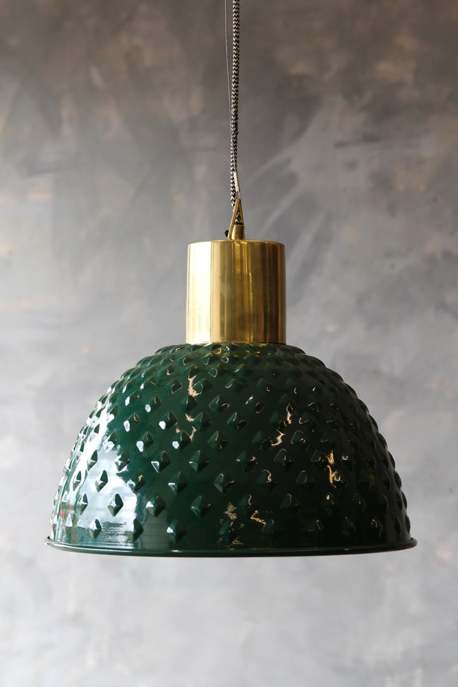 Antique brass ceiling light with turtle green shade
