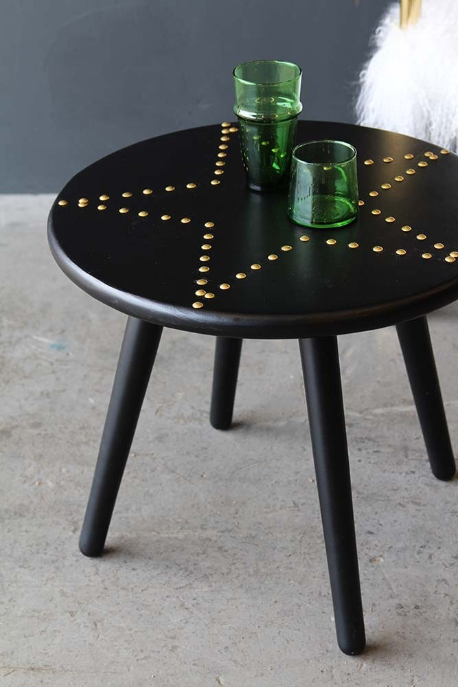 Black Gold Star Studded Side Table From Rockett St George - Studded coffee table