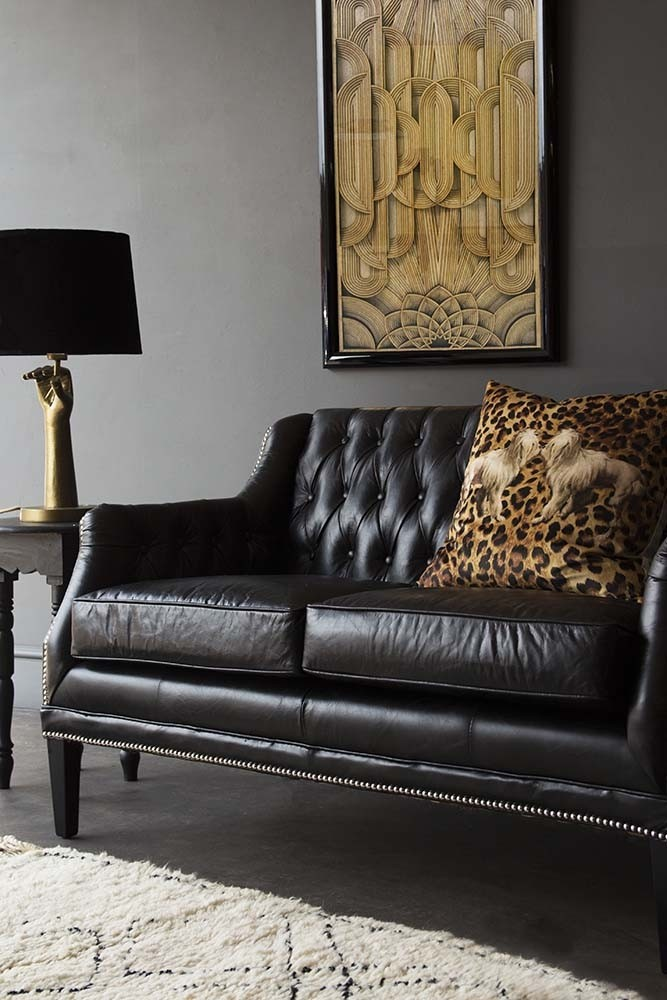 Black Leather Chesterfield Sofa   Small