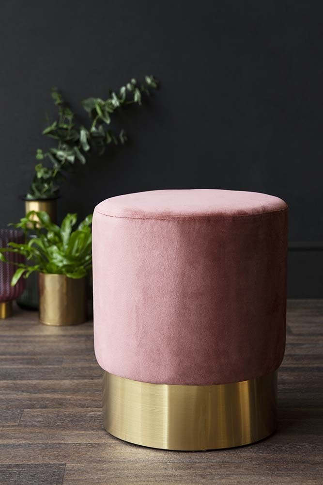 Blush Pink Velvet Pouffe Stool With Gold Base Small From