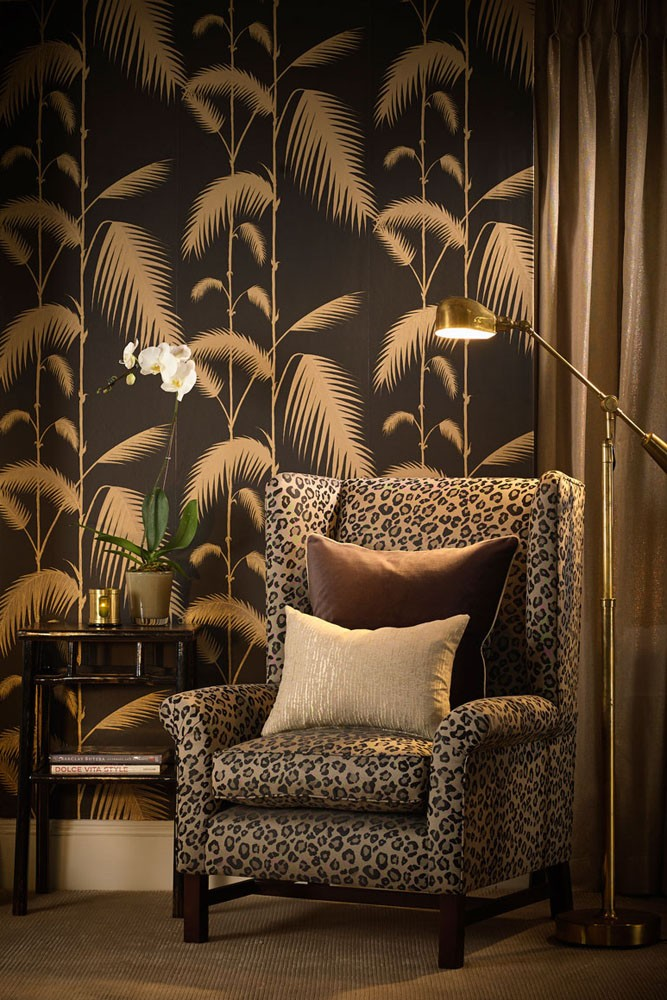 Cole son new contemporary palm leaves black gold for Chinese style wallpaper uk
