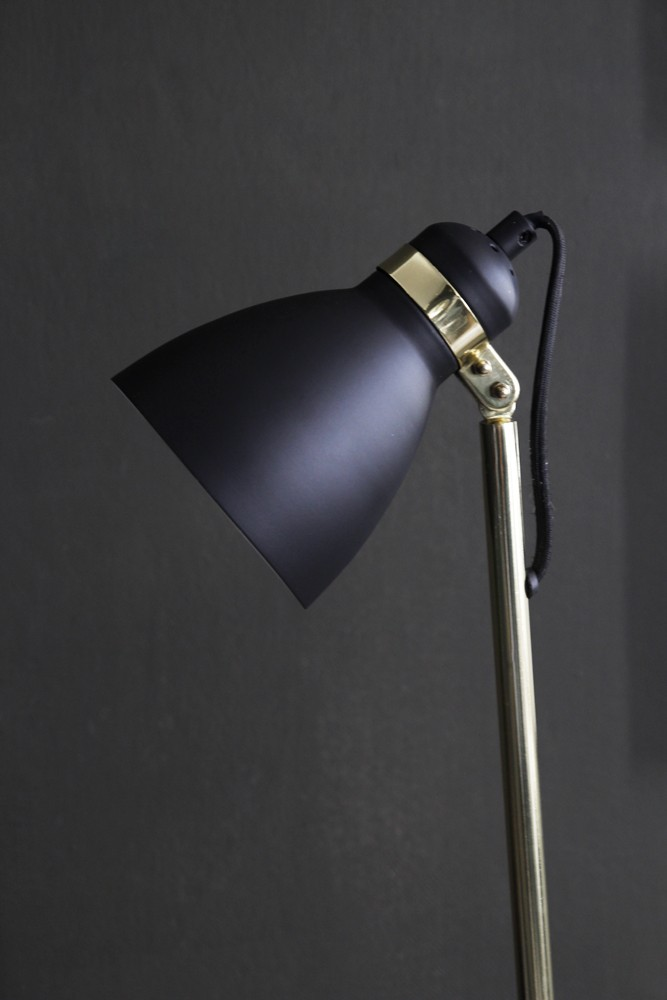 Polished brass concrete black shade floor lamp