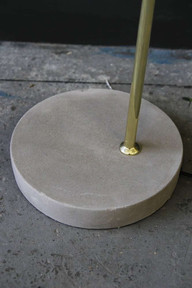 Concrete polished brass floor lamp