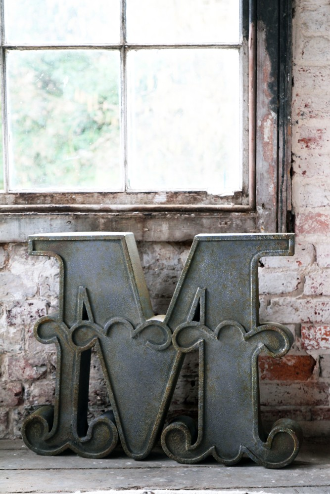 Decorative distressed metal letters m view all home for All home accessories