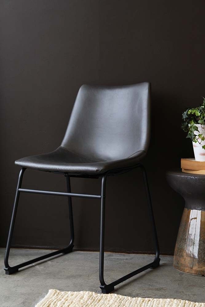 Parker Faux Leather Dining Chair Charcoal Grey