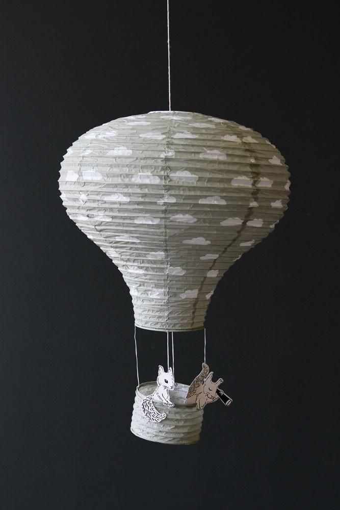 Hot air balloon paper lantern grey cloud