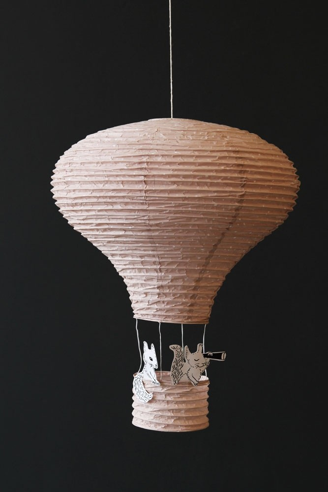 Hot air balloon paper lantern rose pink