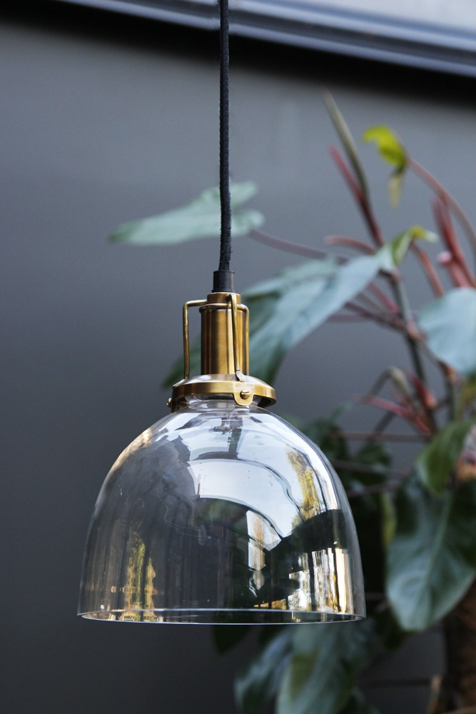 Clear Glass Dome Ceiling Light With Brass Ings