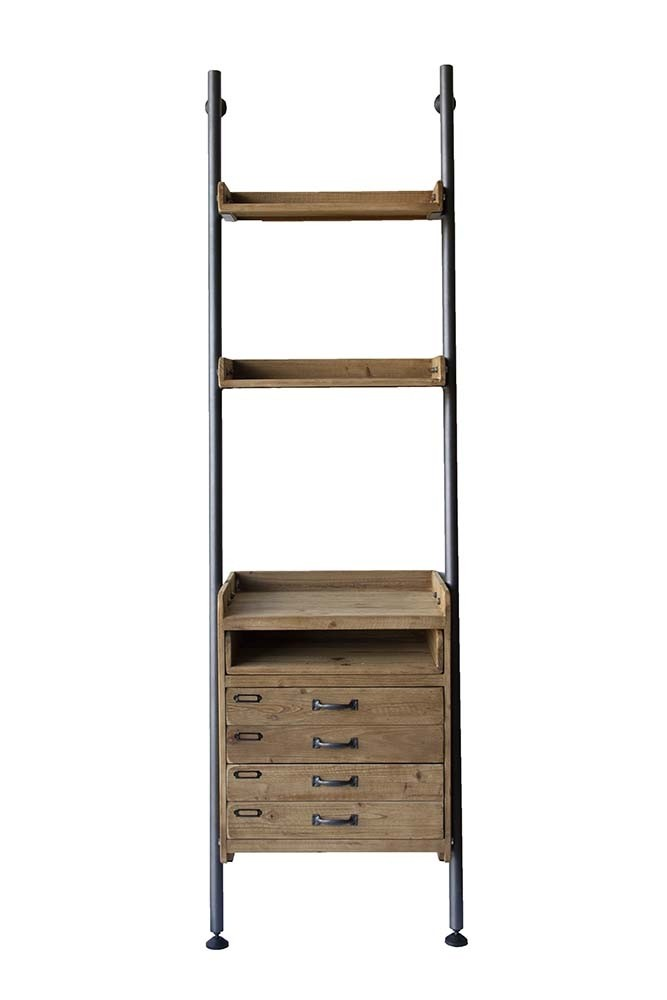 industrial style ladder shelf unit with 2 drawers from rockett st george. Black Bedroom Furniture Sets. Home Design Ideas