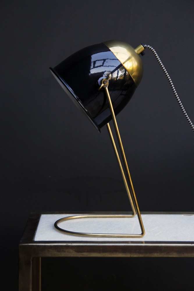 Black brass lola desk lamp