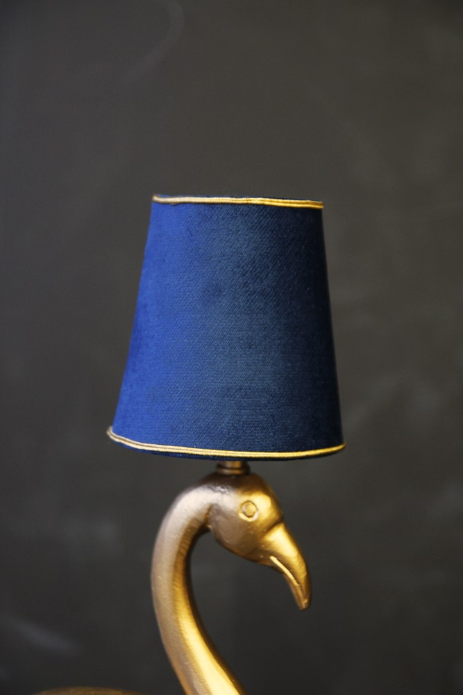Mini blue gold velvet lamp shade