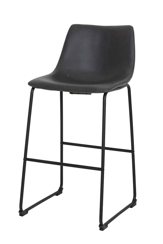 Tyler Faux Leather Bar Stool Charcoal Grey From Rockett