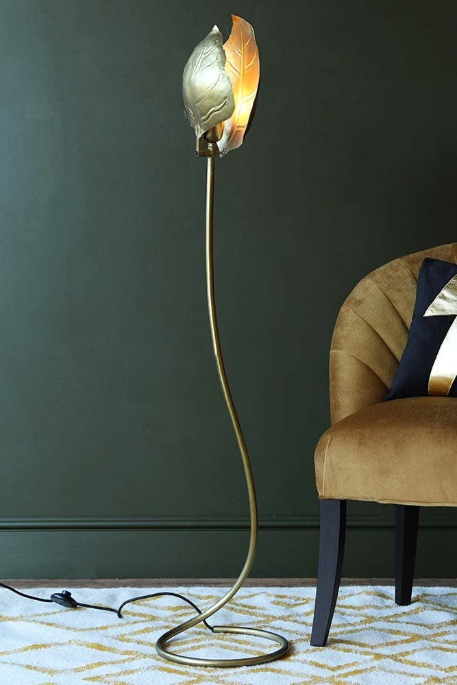 Single leaf midas forna floor lamp