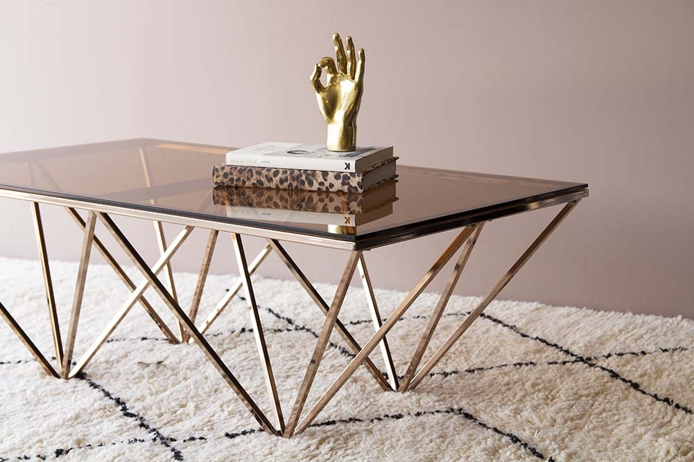 smoked glass rose gold pyramid coffee table from rockett st george. Black Bedroom Furniture Sets. Home Design Ideas