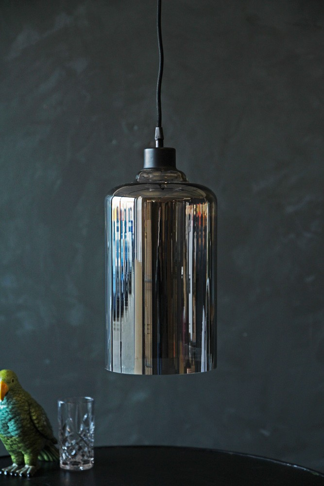Smoked glass pendant cylinder